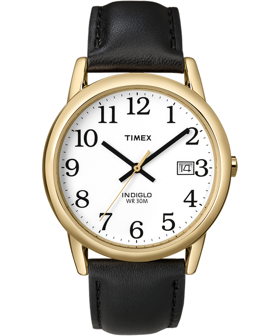 Easy Reader 35mm Leather Watch with Date Gold-Tone/Black/White large