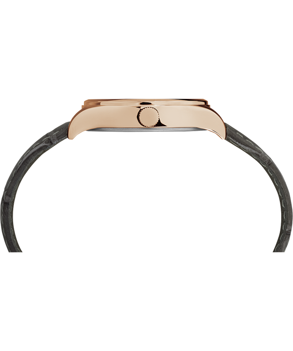 Waterbury Womens 34 mm con cinturino in pelle Rose-Gold-Tone/Gray/White large