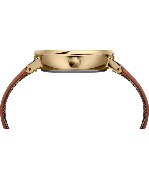 Orologio con cinturino in pelle Fairfield Sub-Second 41 mm Gold-Tone/Brown/Cream large