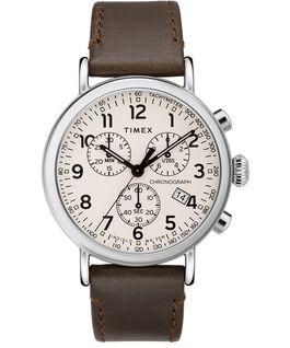 Standard Chronograph 40 mm con cinturino in pelle Silver/Marrone/Crema large