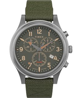 Allied LT Chronograph 42mm Fabric Strap Watch Silver-Tone/Green large