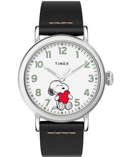 Orologio Timex x Peanuts San Valentino Standard 40 mm con cinturino in pelle Silver/Nero/Bianco large