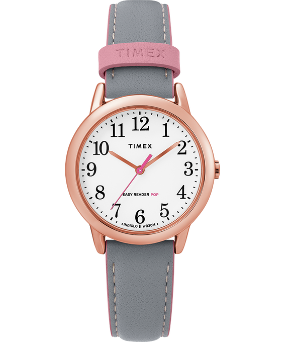 Easy Reader Color Pop 30mm Leather Watch Womens Rose-Gold-Tone/Gray/White large
