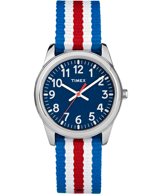 30mm Kids Striped Nylon Analog Watch Silver-Tone/Blue large