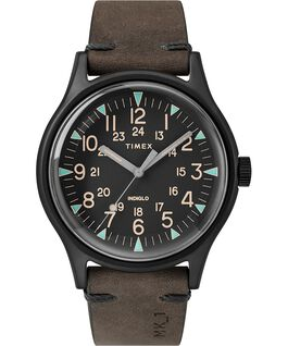MK1 Steel 40 mm con cinturino in pelle Nero/Marrone large