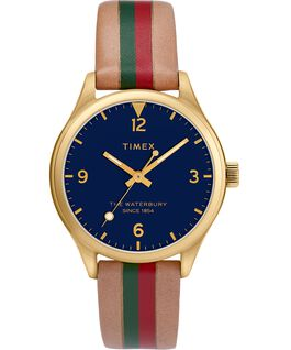 Waterbury Traditional 34 mm da donna con cinturino in pelle rigato Dorato/Cuoio/Blu large