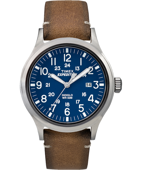 Expedition Scout 40mm Leather Watch Silver-Tone/Tan/Blue large
