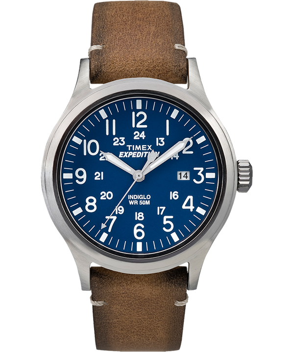 Expedition Scout 40 mm con cinturino in pelle Silver-Tone/Tan/Blue large