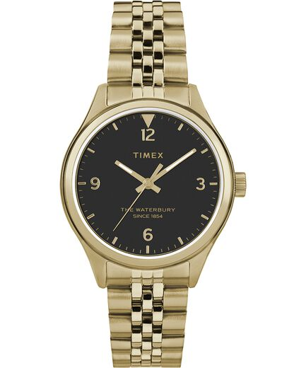 Waterbury Womens 34 mm in acciaio inossidabile Gold-Tone Black large 299d4de2763