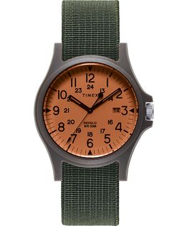 Orologio Acadia 40 mm con cinturino in tessuto elastico Nero/Verde/Arancione large