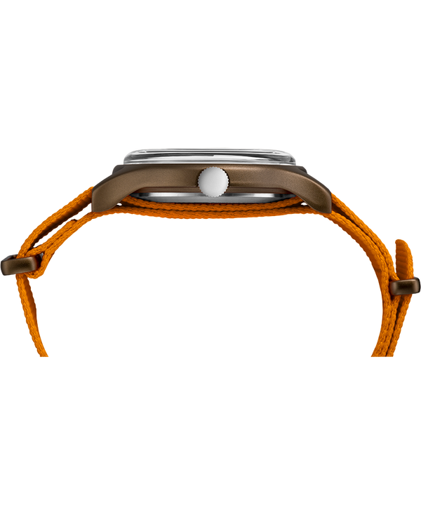 MK1 Aluminum 40mm Fabric Strap Watch Green/Orange/Black large