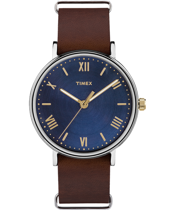 Southview 41mm Leather Watch Silver-Tone/Brown/Blue large