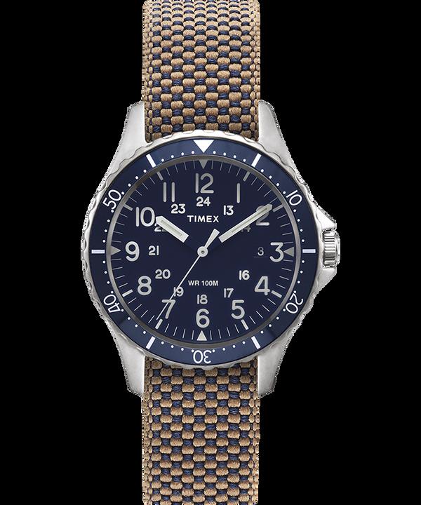 Orologio con cinturino in tessuto delavato reversibile Navi Ocean 38mm Acciaio inossidabile/Blu/Nero large