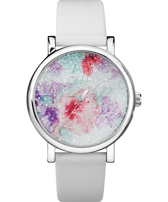 Crystal Bloom with Swarovski Fabric 38mm Leather Watch Chrome/White large