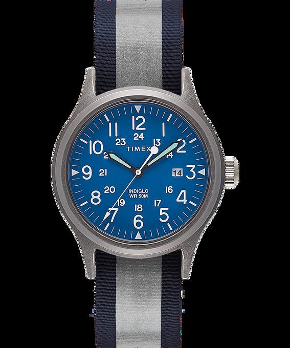 Orologio con cinturino in tessuto reversibile e riflettente Allied 40mm Silver-Tone/Blue large
