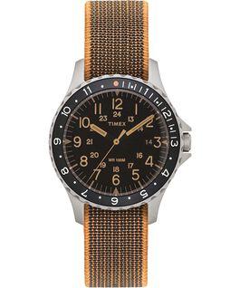 Orologio con cinturino in tessuto elastico Navi Ocean 38mm Acciaio inossidabile/Nero large