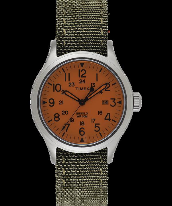 Orologio con cinturino in tessuto reversibile e riflettente Allied 40mm Silver/Bianco large