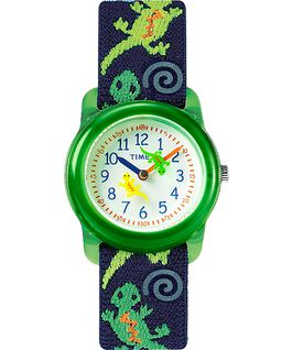 Kids Analog 29 mm con cinturino in tessuto elastico Green/Blue/White large