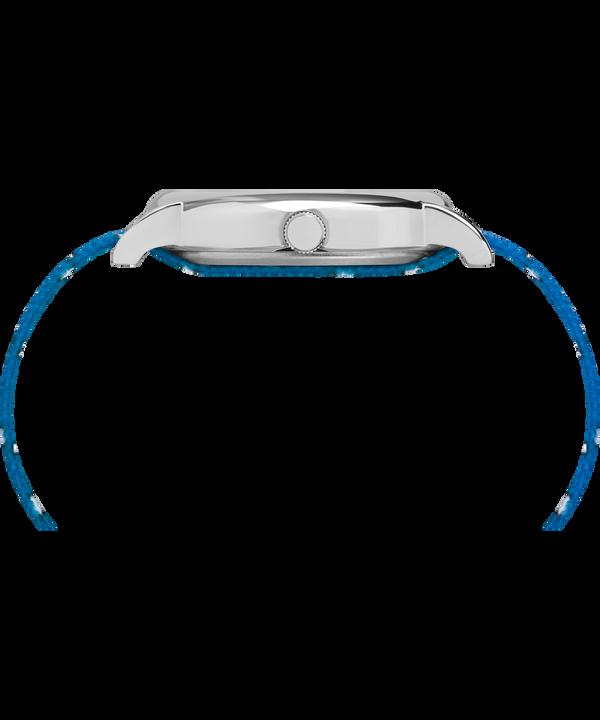 Timex x Peanuts - Orologio Lucy da 38mm con cinturino in tessuto Silver-Tone/Blue/White large