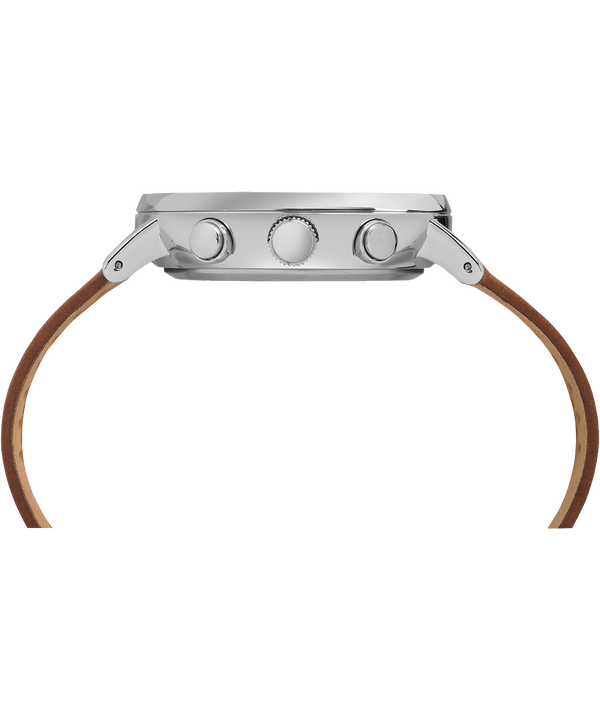 Fairfield Chronograph 41 mm con cinturino in pelle Silver-Tone/Tan/White large