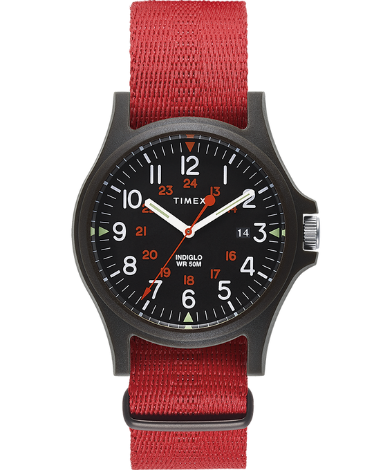 Acadia 40mm Fabric Strap Watch Black/Red large
