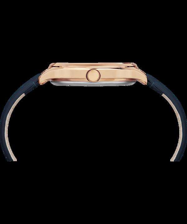Crystal Bloom 36 mm con cristalli Swarovski® e cinturino in pelle Rose-Gold-Tone/Blue large