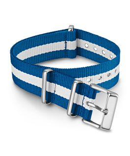 Cinturino slip-thru in tessuto a righe doppio strato da 18 mm Blu large
