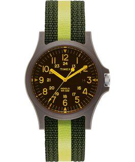 Acadia 40 mm con cinturino in tessuto a righe e vetro colorato Verde/Nero large