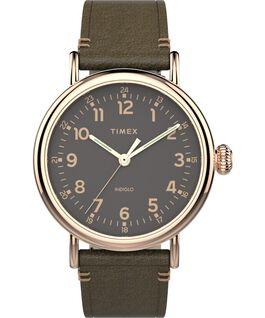 Orologio Standard 41 mm con cinturino in pelle Oro rosa/Verde/Grigio large