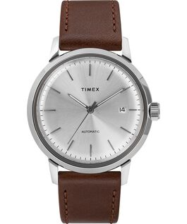 Marlin® 40mm Automatic Leather Strap Watch Brown/Silver-Tone large