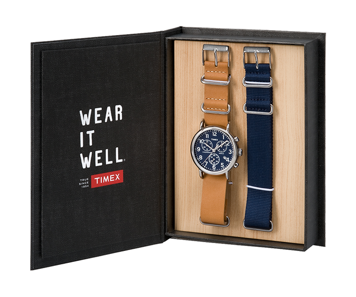 Set da regalo con orologio con cinturino in pelle Weekender Chronograph 40 mm Silver-Tone/Tan/Blue large