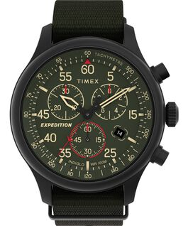 Orologio Expedition Metal Field Chronograph 43 mm con cinturino in tessuto Nero/Verde large