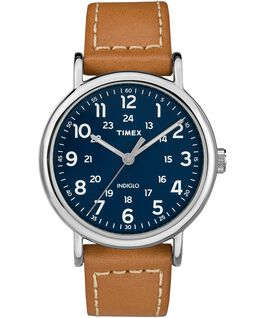 Weekender 2 Piece 40mm Leather Watch Silver-Tone/Tan/Blue large