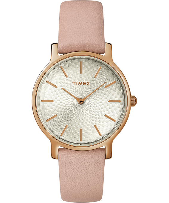 Womens Metropolitan 34mm Leather Strap with Rose Gold