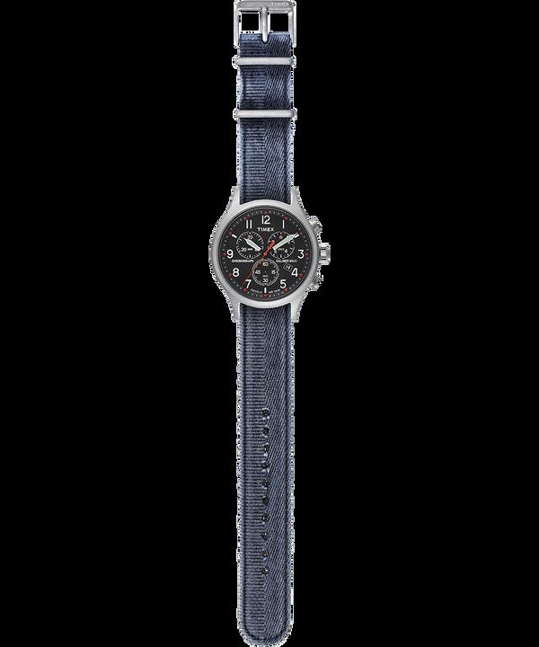Orologio con cinturino in tessuto delavato Allied Chronograph 42 mm Silver/Blu/Nero large