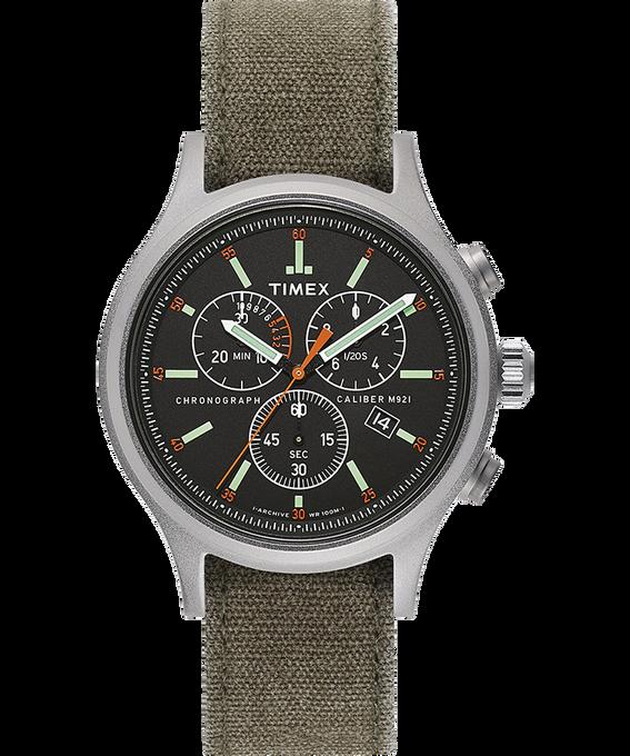 Orologio con cinturino in tessuto delavato Allied Chronograph 42 mm Silver/Verde/Nero large