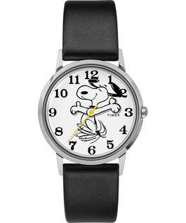 Orologio Timex x Peanuts in esclusiva per Todd Snyder Snoopy da 34mm con cinturino in pelle Acciaio inossidabile/Nero/Bianco large