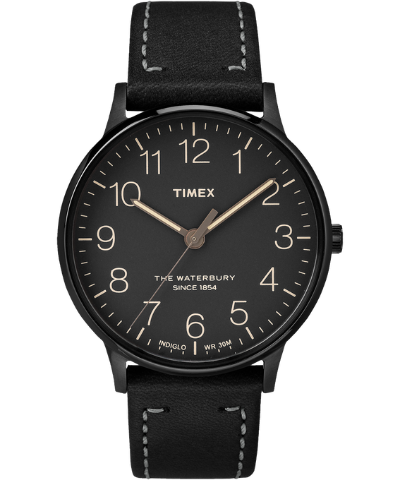 Waterbury 40mm Classic Leather Strap Watch Black large