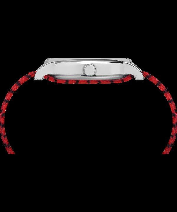 Timex x Peanuts - Orologio Linus da 38mm con cinturino in tessuto Silver-Tone/Red/White large