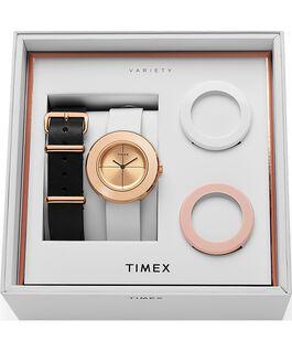 Cofanetto orologio Variety™ da 34mm con cinturino in pelle Tonalità oro rosa/Bianco large