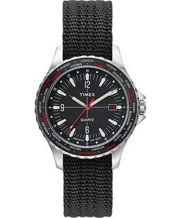 Orologio Navi World Time da 38mm con cinturino in tessuto Acciaio inossidabile/Nero large