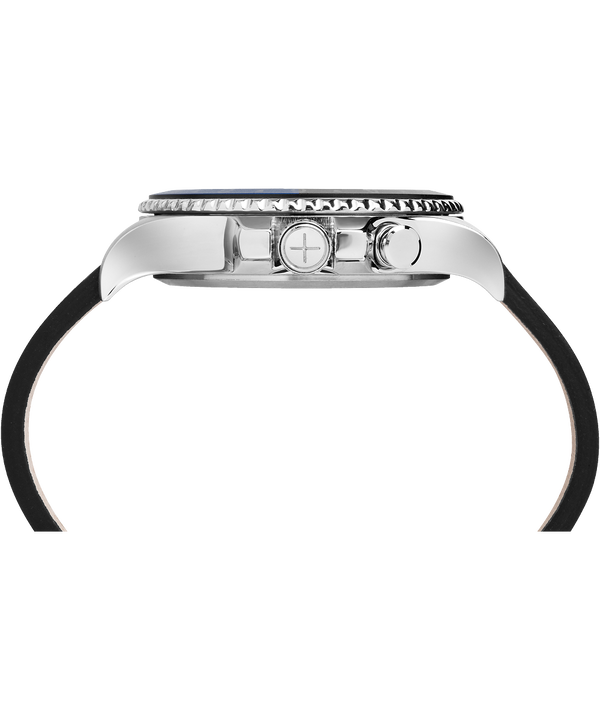 Allied Three GMT 43 mm con cinturino in pelle  Stainless-Steel/Black large