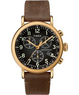 Standard Chronograph 40 mm con cinturino in pelle Gold-Tone/Brown/Gray large