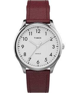Modern Easy Reader 32mm Leather Strap Watch Silver-Tone/Red/White large