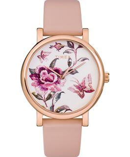 Orologio Full Bloom 38 mm con cinturino in pelle Oro rosa/Rosa large