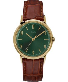 Marlin 34 mm a carica manuale con cinturino in pelle Gold-Tone/Brown/Green large