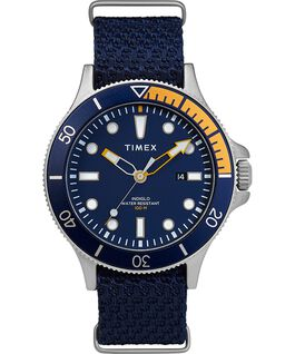 Allied Coastline 43 mm con cinturino in tessuto e ghiera girevole Silver-Tone/Blue large