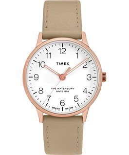 Waterbury 36mm Classic Leather Strap Watch Rose-Gold-Tone/Tan/White large
