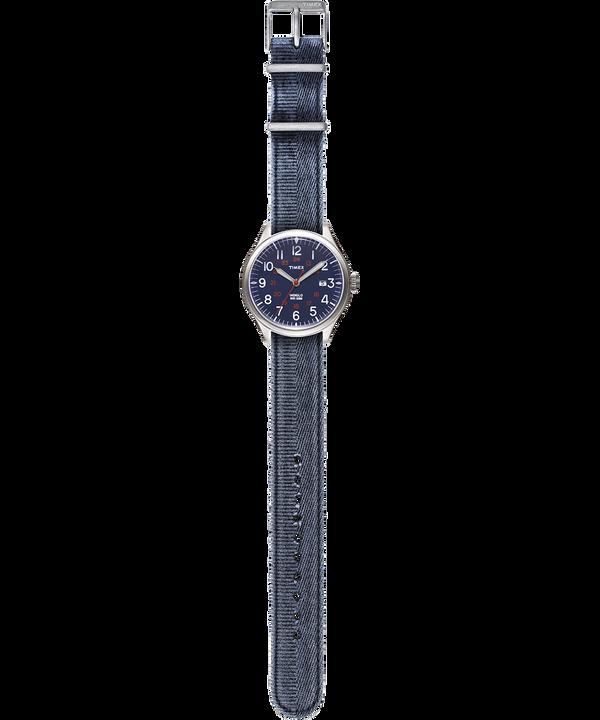 Orologio con cinturino in tessuto delavato Waterbury United 38mm Acciaio/Blu large