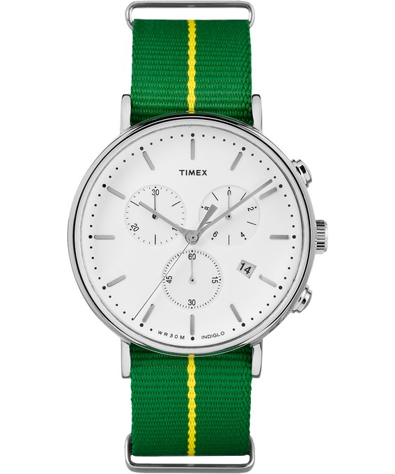 Fairfield Chronograph 41mm Fabric Strap Watch Silver-Tone/Green/White large